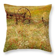 Ranch And Wildflowers And Old Implement 2am-110546 Throw Pillow