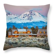 Ranch House And Sisters Throw Pillow