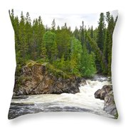 Rancheria Falls Along Alaska Highway In Yk-canada   Throw Pillow