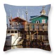 Randys Whale Watching And Fishing Trips Watercolor Throw Pillow