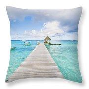 Rangiroa Atoll Pier On The Ocean Throw Pillow