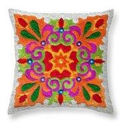 Rangoli Made With Coloured Sand Throw Pillow