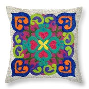 Rangoli Made With Powder Colour Throw Pillow