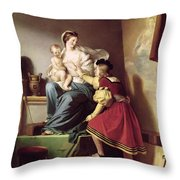Raphael Adjusting His Model's Pose For His Painting Of The Virgin And Child  Throw Pillow