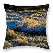 Rapids At Dusk Throw Pillow