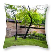 Rapps Covered Bridge Over French Creek Throw Pillow