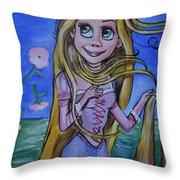 Rapunzel In A Botticelli Style Throw Pillow