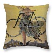 Rare Vintage Paris Cycle Poster Throw Pillow