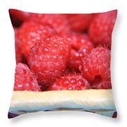 Raspberries In A Basket Throw Pillow