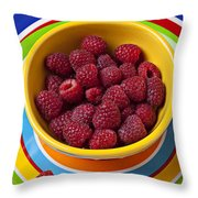 Raspberries In Yellow Bowl On Plate Throw Pillow
