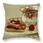 Raspberry Almond Square And Herbal Tea  Throw Pillow