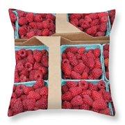 Raspberry Pints In Cardboard Flats Throw Pillow