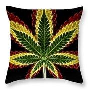 Rasta Marijuana Throw Pillow by Adam Romanowicz