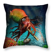 Rasta Squid Throw Pillow