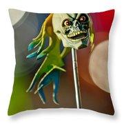Rat Rod Antenna Skull  Throw Pillow
