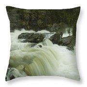 Rauma Waterfall Panorama Throw Pillow