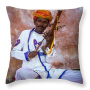 Ravanhatha Musician Throw Pillow