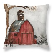 Raven And The Red Barn Throw Pillow