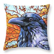 Raven Head Throw Pillow by Nadi Spencer