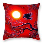 Raven In Ruby Red Throw Pillow