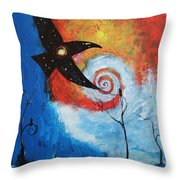 Raven In The Swirl Throw Pillow