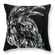Raven On The Branch - Oil Painting Throw Pillow