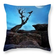 Raven On Twisted Tree With Moon Throw Pillow