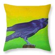 Raven Singing Throw Pillow