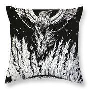 Raven Stealing Fire From The Sun - Woodcut Illustration For Corvidae Throw Pillow