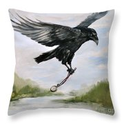 Raven Stealing Time Throw Pillow