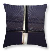 Ravenel Bridge Night View Throw Pillow
