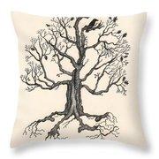 Raven's Magic Oak Throw Pillow