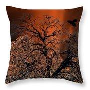 Ravens Tree Throw Pillow