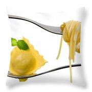 Ravioli Pasta Parcel And Spaghetti On Fork White Background Throw Pillow
