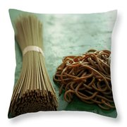 Raw And Cooked Pasta Throw Pillow