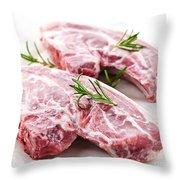 Raw Lamb Chops Throw Pillow
