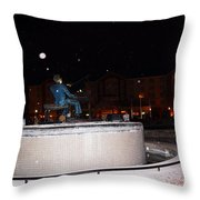 Ray Charles Statue In A Odd Weather Event Throw Pillow