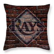 Rays Baseball Graffiti On Brick  Throw Pillow by Movie Poster Prints