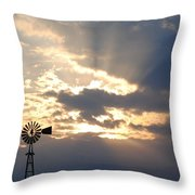 Rays Behind The Mill Throw Pillow