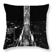 Rca Building At Night In Nyc Throw Pillow