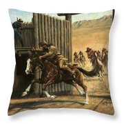 Re-closing Frontiersmen Coming Into The Fort Throw Pillow