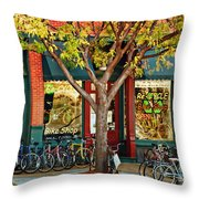 Re-cycle Bike Shop Throw Pillow