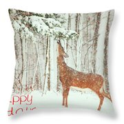 Reach For It Happy Holidays Throw Pillow by Karol Livote