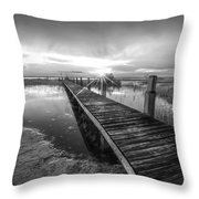Reaching Into Sunset In Black And White Throw Pillow