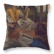 Reading A Letter Throw Pillow