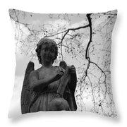 Reading Angel Throw Pillow by Jennifer Ancker