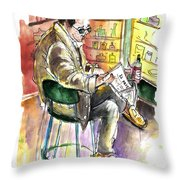 Reading El Pais And Drinking Rioja In Spain Throw Pillow
