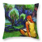 Reading In A Park Throw Pillow