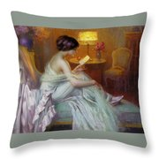 Reading In Lamp Light Throw Pillow