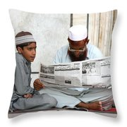 Reading In New Delhi Throw Pillow